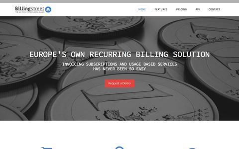 Screenshot of Home Page billingstreet.com - Subscription and recurring billing - captured Dec. 4, 2015