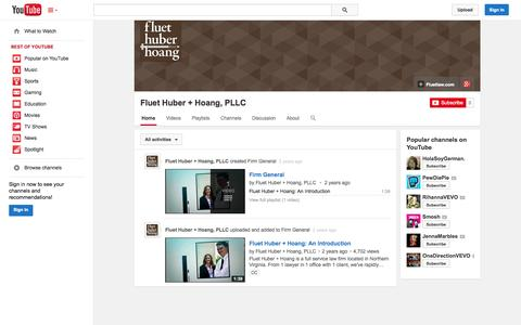 Screenshot of YouTube Page youtube.com - Fluet Huber + Hoang, PLLC  - YouTube - captured Oct. 23, 2014
