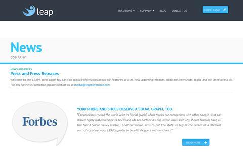 Screenshot of Press Page leapcommerce.com - Leap Commerce - captured July 19, 2014