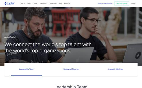 Screenshot of About Page toptal.com - Toptal - Hire Freelance Talent from the Top 3% - captured Oct. 15, 2019