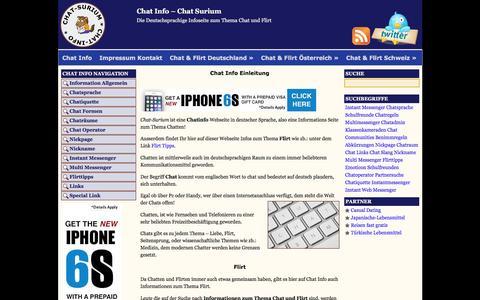 Screenshot of Home Page chat-surium.com - Chat Info - Chat Information in deutscher Sprache - captured June 11, 2016