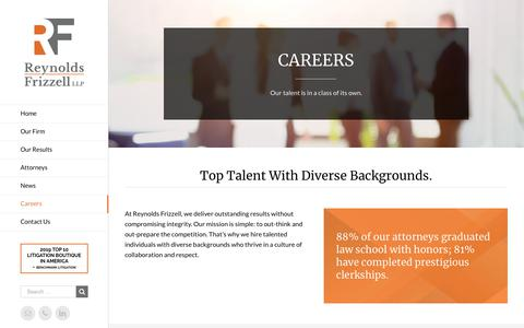 Screenshot of Jobs Page reynoldsfrizzell.com - Reynolds Frizzell LLP | Careers | Boutique Litigation Law Firm | Houston,TX - captured Nov. 18, 2018