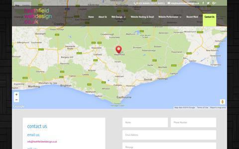 Screenshot of Contact Page heathfieldwebdesign.co.uk - Contact Us - Heathfield Web Design - captured July 6, 2016