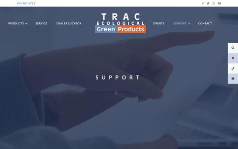 Screenshot of Support Page trac-online.com - Support – TRAC Ecological   Green Products - captured May 29, 2019