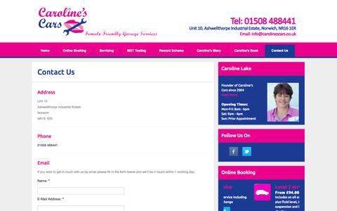 Screenshot of Contact Page carolinescars.co.uk - Caroline's Cars - Female Friendly MOT Garage Services in Norwich - Contact Us - captured Oct. 28, 2014
