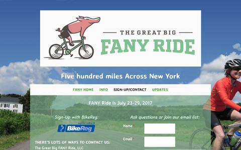 Screenshot of Signup Page fanyride.com - Sign-up/Contact - 99designs-58389c9a2a6a5 - captured April 7, 2017