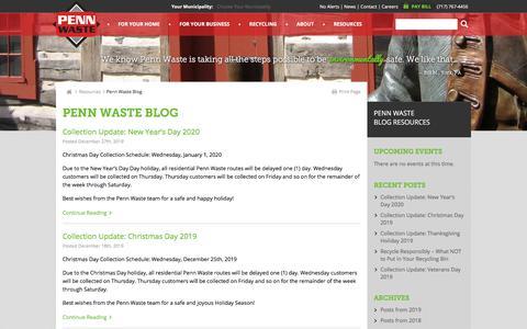Screenshot of Blog Press Page pennwaste.com - Penn Waste Blog | Penn Waste - captured Jan. 7, 2020