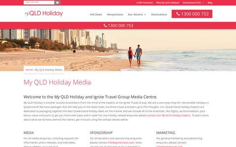 Screenshot of Press Page myqldholiday.com.au - Media & Press | My Queensland Ignite Travel Group Contact - captured Sept. 20, 2018