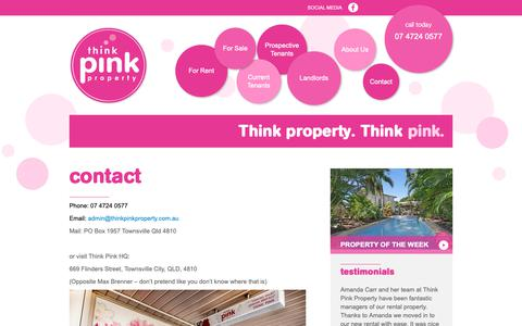 Screenshot of Contact Page thinkpinkproperty.com.au - Contact «  Think Pink Property - captured Oct. 20, 2018