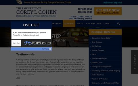 Screenshot of Testimonials Page coreycohen.com - Testimonials | The Law Office of Corey I. Cohen | Orlando Criminal Defense Lawyer - captured Jan. 23, 2016