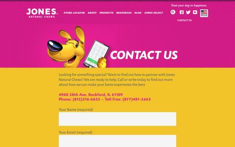 Screenshot of Contact Page jonesnaturalchews.com - Contact - captured July 5, 2018