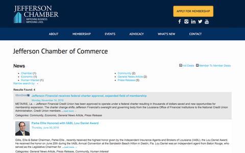 Screenshot of Press Page jeffersonchamber.org - News - Jefferson Chamber of Commerce - captured Nov. 26, 2016