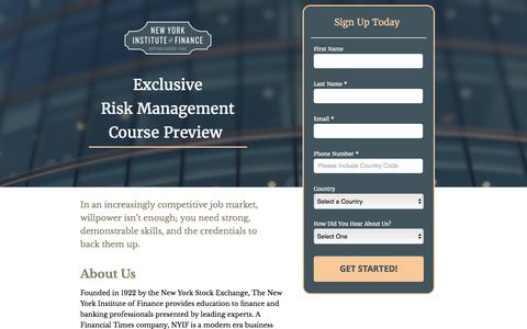 Screenshot of Landing Page nyif.com - Risk Management Preview Sign-Up - captured Oct. 23, 2016