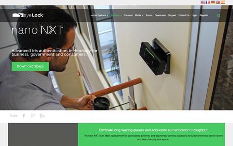Screenshot of Products Page eyelock.com - EyeLock - nano NXT - captured July 17, 2016