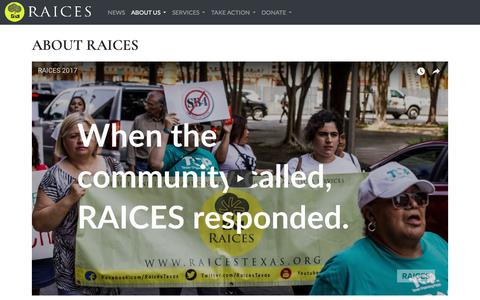 Screenshot of About Page raicestexas.org - About RAICES – RAICES - captured July 10, 2018