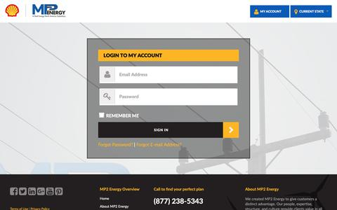 Screenshot of Login Page mp2energy.com - LOGIN TO MY ACCOUNT - captured Oct. 1, 2018