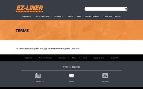 Screenshot of Terms Page ezliner.com - Terms – EZ-Liner - captured July 12, 2017
