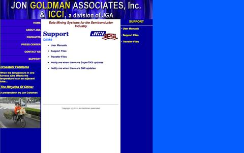 Screenshot of Support Page jga-inc.com - Jon Goldman Associates ::: Data Mining Systems for the Semiconductor Industry - captured Oct. 6, 2014