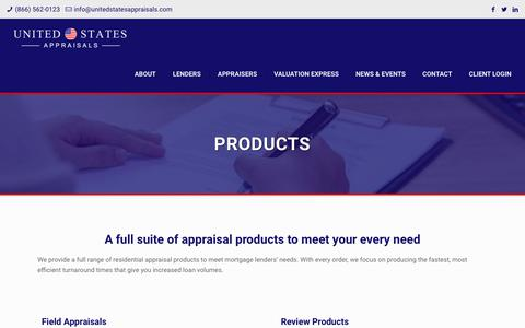 Screenshot of Products Page unitedstatesappraisals.com - Residential Appraisal Products - United States Appraisals - captured Oct. 20, 2018