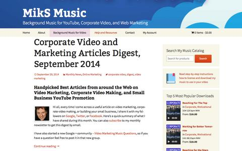 Screenshot of Blog miksmusic.com - MikS Music Blog - Music Licensing, Video Marketing, E-Commerce - captured Oct. 9, 2014