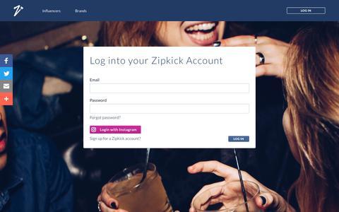 Screenshot of Login Page zipkick.com - Zipkick - captured Sept. 21, 2018