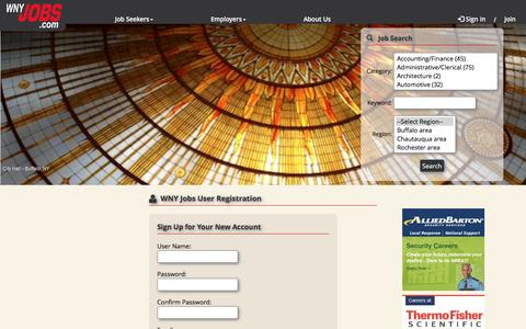 Screenshot of Signup Page wnyjobs.com - Western New York Jobs - Buffalo NY & Rochester NY, Employment Classifieds - captured Jan. 19, 2016