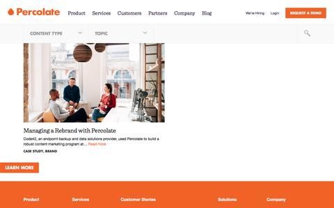 Screenshot of Blog percolate.com - blog Archives | Content Marketing Resources + Insights | Percolate - captured Aug. 10, 2017