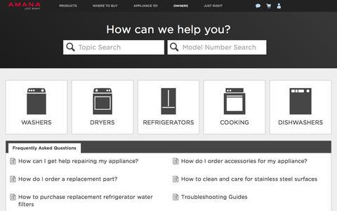 Screenshot of FAQ Page amana.com - Product Help | Amana Appliances - captured Nov. 22, 2016