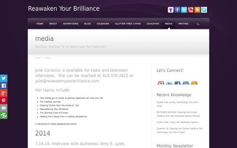 Screenshot of Press Page reawakenyourbrilliance.com - How to Heal Interviews - captured Oct. 26, 2014