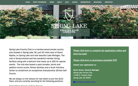 Screenshot of Jobs Page springlakecc.com - Spring Lake Country Club - Careers - captured Nov. 16, 2018