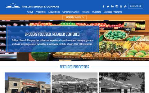 Screenshot of Home Page phillipsedison.com - Home | Phillips Edison & Company - captured May 2, 2018