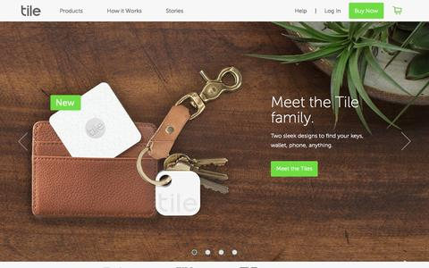 Screenshot of Home Page thetileapp.com - Tile - Never lose your phone, keys, or wallet, again using Tile's Bluetooth tracker | Tile - captured Aug. 31, 2016