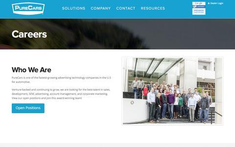 Screenshot of Jobs Page purecars.com - Careers - PureCars - captured July 3, 2015