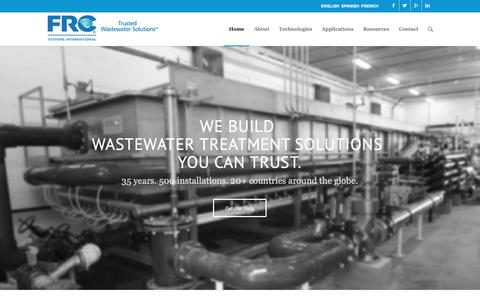 Screenshot of Home Page frcsystems.com - FRC Systems | Trusted Wastewater Treatment Solutions - captured Nov. 14, 2018
