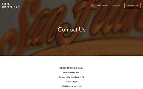 Screenshot of Contact Page lionbrothers.com - Contact Us — Lion Brothers - captured Aug. 16, 2017