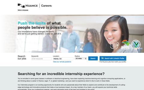 Screenshot of Jobs Page nuance.com - Internships - captured Dec. 11, 2018