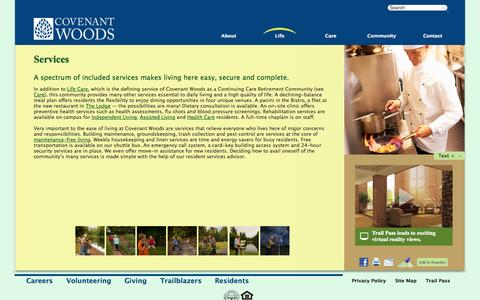 Screenshot of Services Page covenantwoods.com - A Wide Spectrum of Included Services | Covenant Woods - captured Sept. 30, 2014