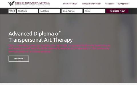 Screenshot of Landing Page phoenixinstitute.edu.au - Phoenix Institute | Advanced Diploma of Transpersonal Art Therapy - captured Oct. 27, 2014