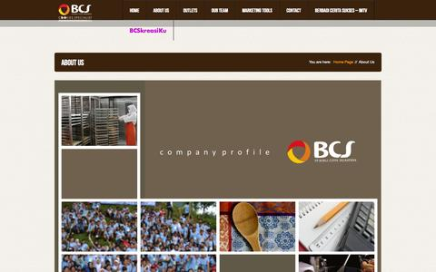 Screenshot of About Page bcs.co.id - About Us | BCS Cookies Specialist - PT Bonli Cipta Sejahtera (PT BCS) - captured Oct. 5, 2014