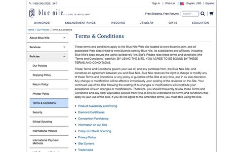 Screenshot of Terms Page bluenile.com - Terms & Conditions | Blue Nile - captured Jan. 25, 2018