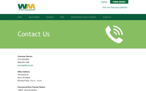 Screenshot of Contact Page wm.com - Contact Us | Waste Management Single-Stream Recycling - captured Sept. 18, 2014