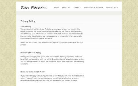 Screenshot of Privacy Page benfathers.com - Privacy Policy | Ben Fathers - captured Oct. 31, 2014