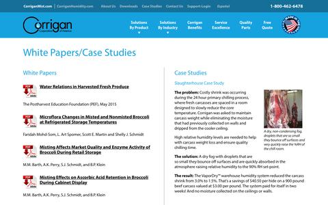 Screenshot of Case Studies Page corriganmist.com - White Papers/Case Studies - Corrigan Mist - captured Sept. 29, 2018