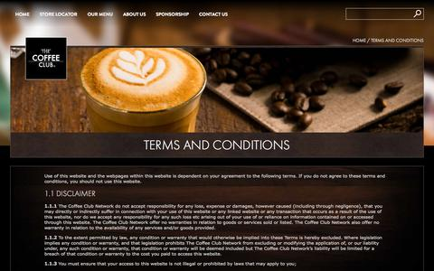 Screenshot of Terms Page coffeeclub.com.au - Terms and Conditions » The Coffee Club - captured Oct. 2, 2015