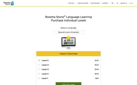 Screenshot of Pricing Page rosettastone.com - Rosetta Stone® Individual Levels - captured Jan. 14, 2018