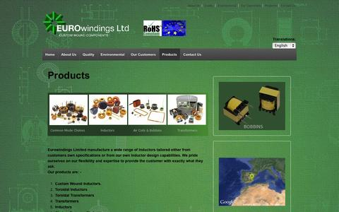 Screenshot of Products Page eurowindings.eu - Custom Coils, Inductors, Inductor, Choke Inductor, Common mode, Common Mode Choke. | Coil Windings for the Windings Industry. - captured Oct. 3, 2014