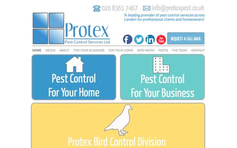 Screenshot of Home Page protexpest.co.uk - HOME - Protex Pest Control Services - captured Sept. 18, 2015