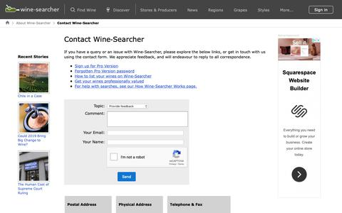 Screenshot of Contact Page wine-searcher.com - Contact Wine-Searcher - captured Jan. 11, 2019