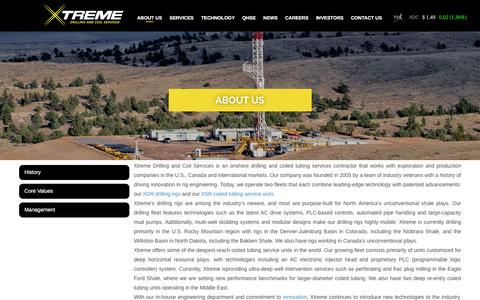 Screenshot of About Page xtremecoil.com - Electronic Injector Head, Tubing Conveyed Perforating, Eagle Ford - captured Feb. 13, 2016