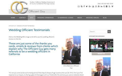Screenshot of Testimonials Page officiantguy.com - Reviews and Testimonials for California Wedding Officiants - captured Nov. 2, 2017